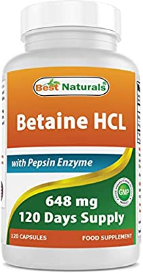 Best Naturals Betaine HCl 648 mg with 150 mg Pepsin, 120 Capsules