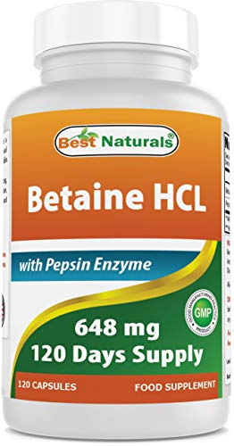 Best Naturals Betaine HCl 648 mg with Pepsin 120 Capsules