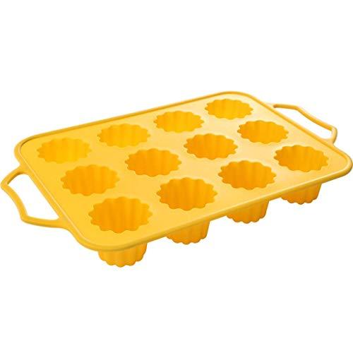 Moule à gâteau Domestique Moule en Silicone Mignon Pudding Gelée Moule Creative DIY Outils 12 Même Pudding Pattern (avec poignée) (Couleur:Brown)
