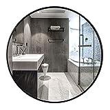 YMQ Espejo De Pared Redondo Negro, Espejo De Círculo Decorativo para El Hogar, 19.7'Espejo De Maquillaje De Marco De Metal para Sala De Estar, Dormitorio, Baño, Entrada(Size:40cm)