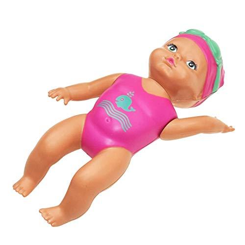 Baby Bath Swim Doll, Wind Up Mini Bathtub Toy Natación interactiva Baby Doll para piscina de agua Juego divertido Tiempo de baño Estructura mecánica Lindo arte sin silicona Juguete de baño para niños