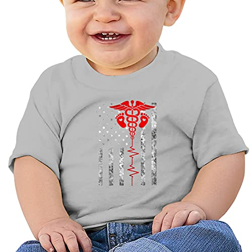 Aiier Nurse Thin Red Line Baby T Shirt Short Sleeve Tops Bodysuit Crawling Clothes
