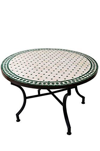 ORIGINELE Marokkaanse mozaïek tafel salontafel ø 100 cm groot rond   ronde kleine mozaïek tuintafel Mediteran   als tafel bijzettafel voor balkon of tuin   Marrakesch natuurgroen 100 cm