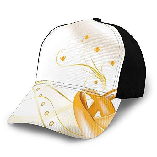 Classics Adjustable Visor Baseball Cap Sun Hat,Wedding Rings Entangled In Shape of Heart 3D Style Romantic Design