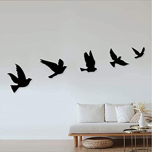 GoneNow 5pcs Wooden Wall Decor, Birds Wood Wall Art, Black Animal Wall Decor Bathroom Decor, Bedroom Decor and Kitchen Wall Decor, Wall Decorations for Living Room
