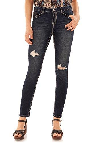 WallFlower Women's Juniors Basic Legendary Skinny Jeans in Dazzler, 11 Long