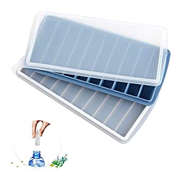 Silicone Narrow Ice Stick Cube Trays with Lids Easy Push and Pop Out Material Ideal for Sports and Water Bottles,Blue and Gray