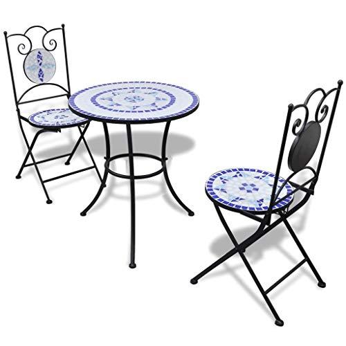 Qazxsw Mesa Bistro 60cm Mosaico con 2 Sillas Mobiliario Exterior Azul y Blanco
