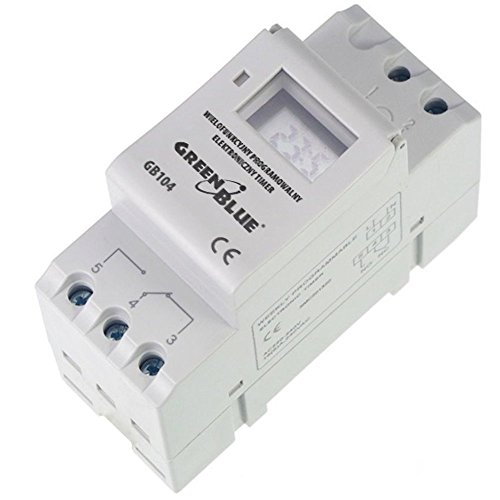 GreenBlue - GB104Temporizador digital, planificador semanal, DIN 16A, Carril DIN, panel de control