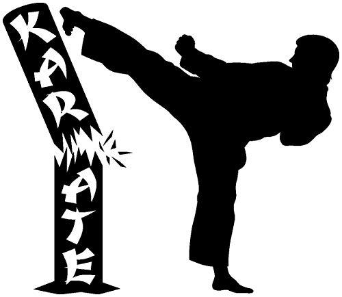 Samunshi® Wandtattoo Karate Karatekämpfer in 8 Größen und 25 Farben (60x52cm schwarz)