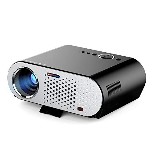 AMJFB Proyector de Video, GP90 Proyector portátil de Cine en casa HD 1080p para Cine en casa/Entretenimiento/Película/Fiesta/Juego con Interfaz HDMI/VGA Conecte la computadora