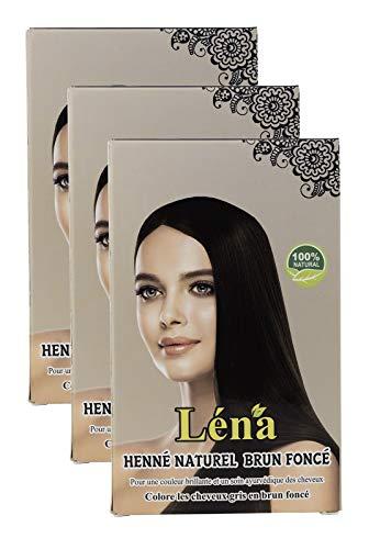 Dunkelbraunes henna, haarfarbe, haarpflege, pflanzenhaarfarbe, weiße Haare bedecken und 100% natürlich - Pack 3 X 100 g