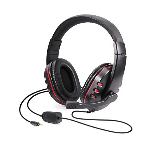 Diswoe Gaming Headset, 3.5mm Wired Over-Head Stereo Headphone with Mic Microphone Volume Control for Sony PS4 PS5 PC Tablet Laptop Smartphone Xbox One