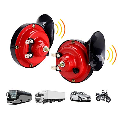 Loud Train Horn for Car, 12v Waterproof Double Snail Horn, Super Air Horn Raging Sound for Car Motorcycle Truck Boat (2pcs)