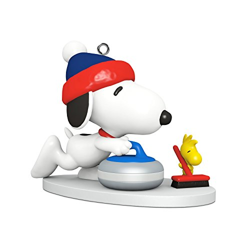 Hallmark Keepsake Mini Christmas Ornament 2018 Year Dated, Peanuts Snoopy Winter Fun and Games Curling Miniature, 1'