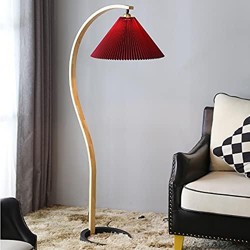 sandy LED Lámpara Pie, Lampara Pie Salon Plisada de Estilo Nórdico para Salón Dormitorio Oficina Lámpara Moderna con Interruptor Pie,Rojo