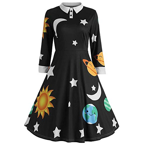 AMDOLE Femmes Robes de noël Manches Longues Revers Robe de Cocktail Sun Moon Star Impression Costume de Mardi Gras Mode rétro Couleur Unie Belle Robe de soirée Corps Mince Robe de Bal Corset