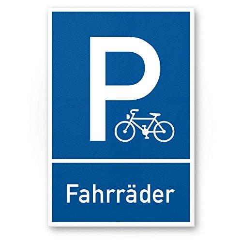 Parkplatz, Stellplatz Fahrräder Kunststoff Schild (blau, 20 x 30cm), Hinweisschild Fahrradparkplatz, Stellplatz Reserviert Fahrräder - abstellen, Parken Fahrradfahrer