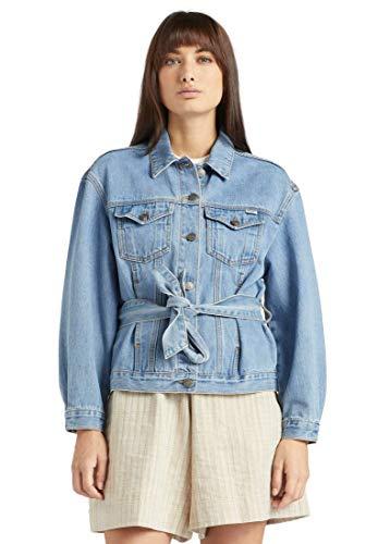 khujo Damen Jacke Shane blau Denim Jeansjacke Baumwolle Stoffgürtel Brusttaschen Eingrifftaschen
