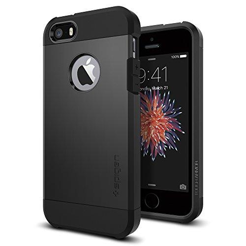 Spigen Tough Armor für iPhone SE 2016/5S/5 Hülle Anti-Fingerabdruck Doppelte Schutzschicht Handyhülle Schutzhülle Case Schwarz SGP10492