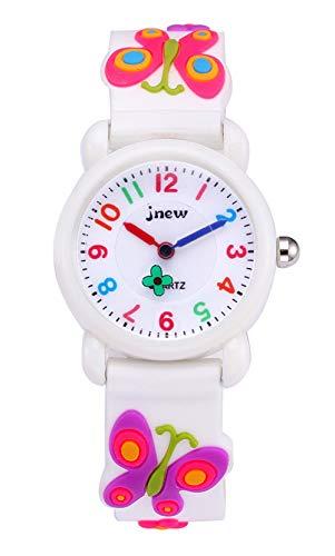 Panegy キッズ腕時計 女の子 蝶柄 クオーツ アナログ 腕時計 ガールズ 可愛い 防水 腕時計 子供の日 誕生日 お祝い プレゼント ホワイト