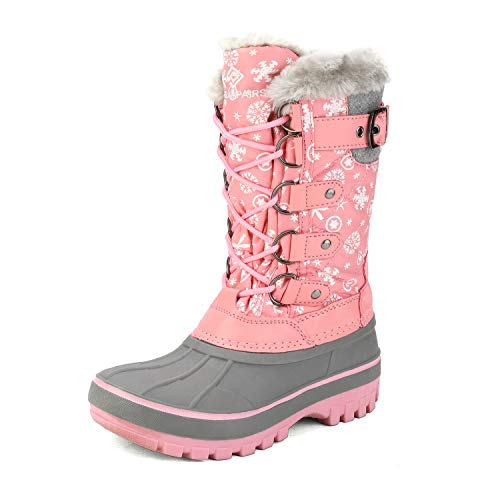 DREAM PAIRS Girls Faux Fur Lined Insulated Waterproof Winter Snow Boots Pink Kriver-1 Size 13 M US Little Kid