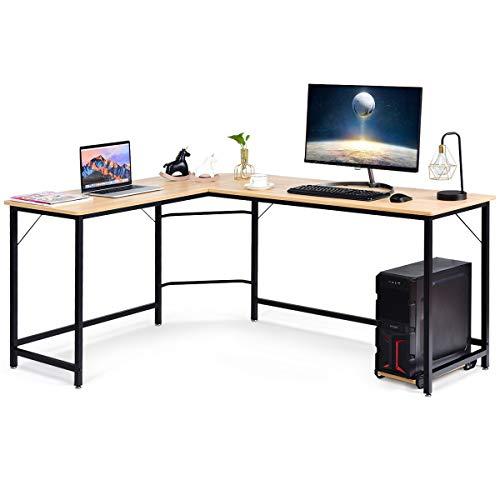 Costway Bureau/Table Informatique,Bureau/Table d'Angle Ordinateur Coin en Bois et Métal avec 6 Pieds Réglables 168 x 125 x 74CM (Brun)