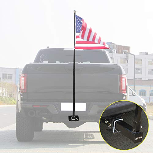 NIXFACE Flag Pole Holder for Trucks Mounts to 2' Hitch Receivers