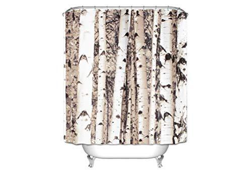 Alibuy Waterproof Bath Shower Curtains Birch Tree Pattern Fabrics Window Curtain with Free 12 Hooks,180x180cm