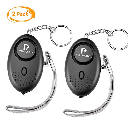 PRIPASO Personal Alarm 130Db Personal Security Alarm Keychain LED Flashlight Portable Safety Alarm for Women Children Shopping Traveling Jogging, as a Bag Decoration (2pack, Black)