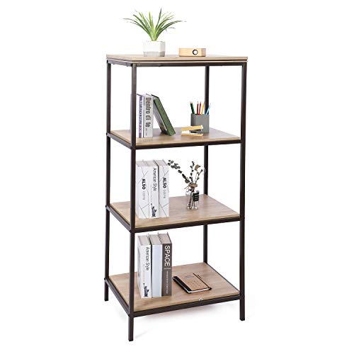 Sekey Home Boekenkast, 4 niveaus, ladderkast, boekenkast, stabiel metaal voor het frame, eenvoudige montage, voor woonkamer, slaapkamer, keuken