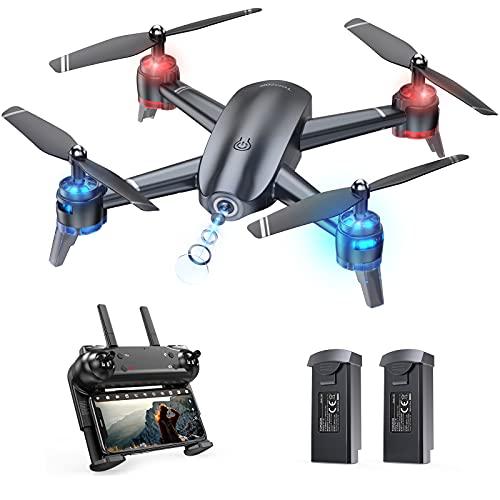 Tomzon A26 Drone con Cámara HD 1080P, FPV Drone para Principiante DIY Ruta de Vuelo 22 Mins Vuelo Control de Gravedad Fotografía de Control de Gestos Estabilización de Altitud Quadcopter para Adulto