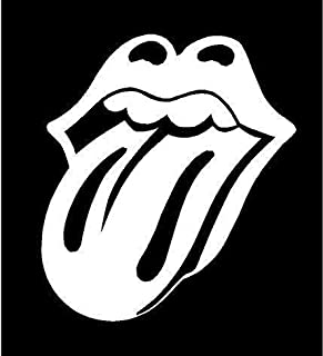 White Vinyl Decal - Tongue Rolling Stones Music Rock Band Sticker, Die Cut Decal Bumper Sticker for Windows, Cars, Trucks, Laptops, Etc.
