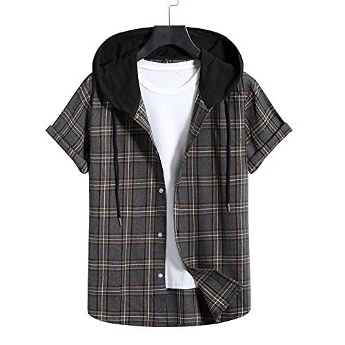 Shirt Hombre Verano Clásica Moda Rayas Lazada Hombre Manga Corta Moderna Suelto Botón Placket Hombre Casuales Camisa Diaria Casual All-Match Camiseta DM14 S