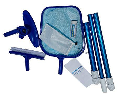 FibroPool Above-Ground Pool Maintenance Kit (Telescoping Pole, Leaf Rake, Vacuum and Brush)