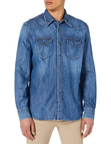 REPLAY M4023 Camisa, 009 Azul Medio, M para Hombre