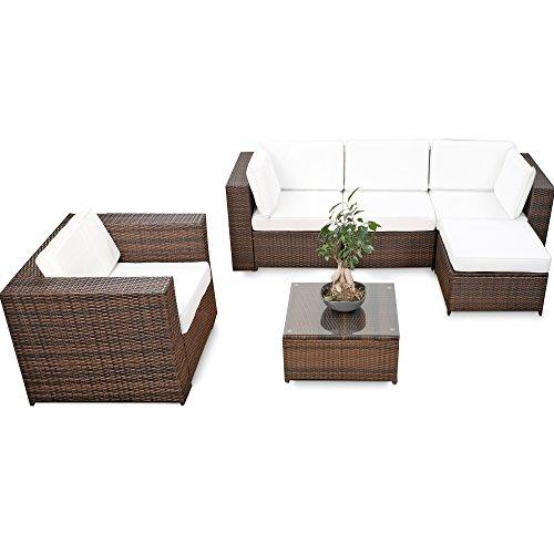 XINRO® erweiterbares 18tlg. Eck Lounge Set Polyrattan - braun-Mix - Garnitur Gartenmöbel Sitzgruppe XXXL Lounge Gruppe - inkl. Lounge Sessel + Ecke + Hocker + Tisch + Kissen