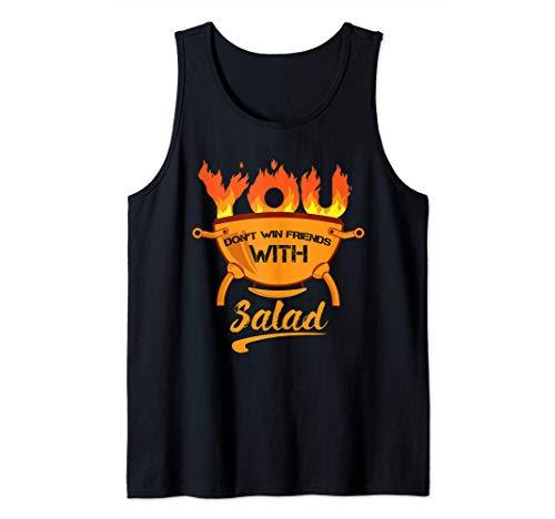 Usted no gana amigos con ensalada barbacoa vegetariana parri Camiseta sin Mangas