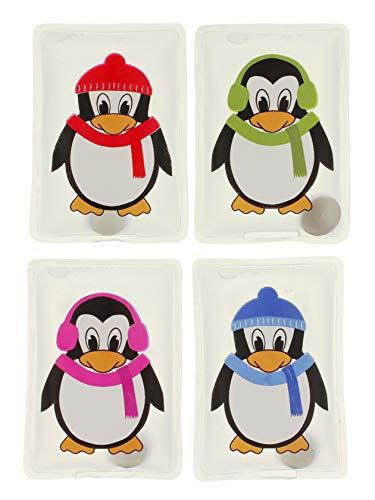 MIK Funshopping Handwärmer Taschenwärmer Sets (4er-Set Sweet Penguins mit bunten Schals und Ohrenwärmern)