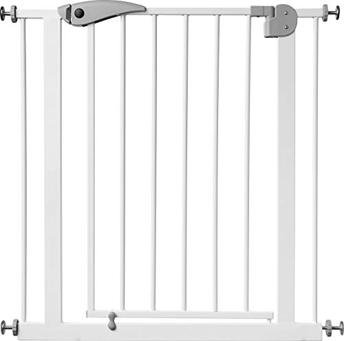 ib style® Berrin Treppengitter 75-175cm | Haustiergitter |Türschutzgitter | Ohne Bohren | Auto-Close| Weiß-grau |95-105 cm