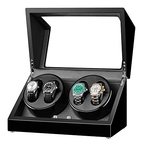 Sepano Automatic Quad Watch Winder for Automatic Watchs - 4 Watch Winder with Extremely Quiet Motor, Black Rotating Watch Case
