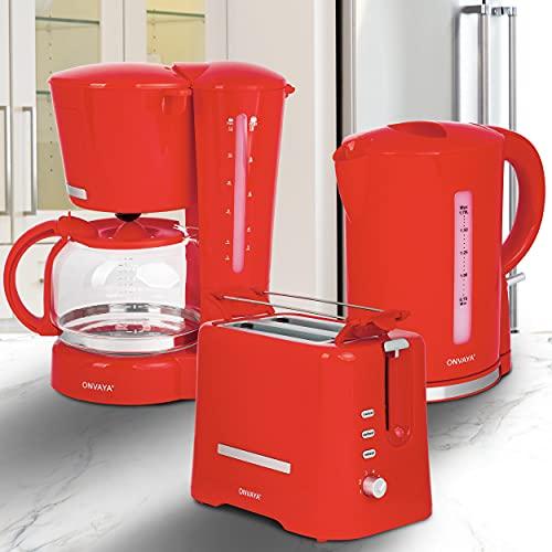 ONVAYA® Frühstücksset 3-teilig | Kaffeemaschine Toaster Wasserkocher Set | Frühstücksserie 3 in 1 | hellrot | Filterkaffeemaschine für 12 Tassen | Toaster für 2 Scheiben | Wasserkocher 1,7 Liter