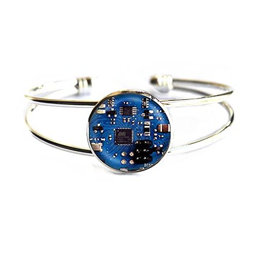 PU079 - Pulsera de cristal con diseño de cúpula de cabujón, color azul