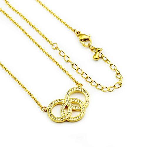 N/A Necklace pendant Crystal Three Circles Necklace Gold Color Interlocking Rounds Pendant Long Necklace Women Fashion Jewelry Christmas birthday Gift
