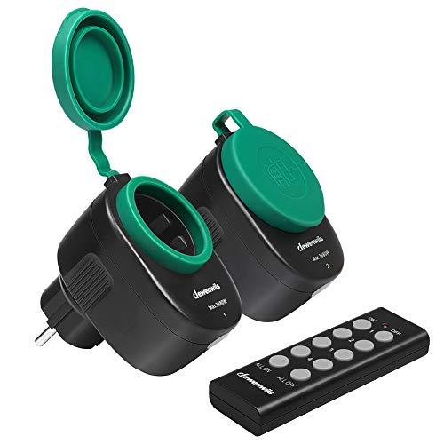 DEWENWILS Funksteckdosenset Aussen, Programmierbare Steckdosen mit Fernbedienung, IP44, 2er Funksteckdosen und 1 Fernbedienung für Weihnachtsdeko, 3680W, 30 M Reichweite, CE und TÜV zertifiziert