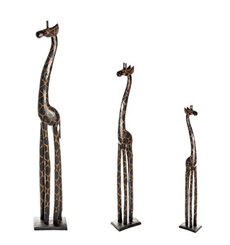 3 er Set Holz Giraffen Holzgiraffe Holzgiraffen Familie Giraffe Afrika 60cm 40cm 20cm Set GD