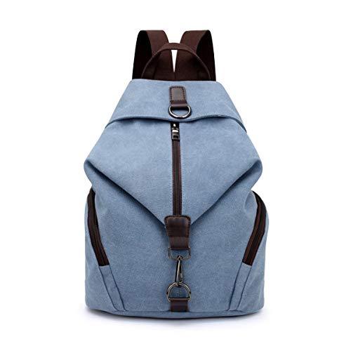 Yidarton Damen Leinwand Rucksack Canvas Schulrucksack Reisetasche Outdoor Schule Backpack (Blau#1)