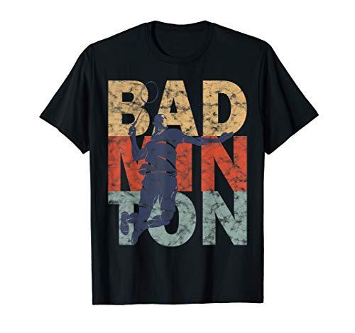 Badminton Badmintonspieler & Badmintonschläger cooles Retro T-Shirt