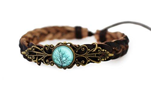 Lederarmband Baum Natur Damen Schmuck Armschmuck Wickelarmband Braun Vintage Flechtarmbänder Blau Bronze