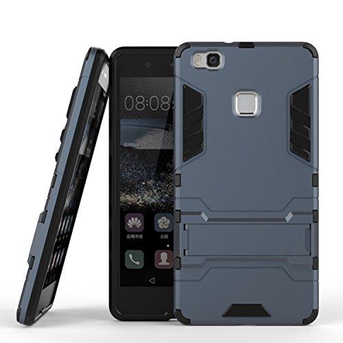 Huawei P9 Lite Funda, MHHQ 2in1 Armadura Combinación A Prueba de Choques Heavy Duty Escudo Cáscara Dura PC + Suave TPU Silicona Rubber Case Cover con soporte para Huawei P9 Lite -Black Plus Gr